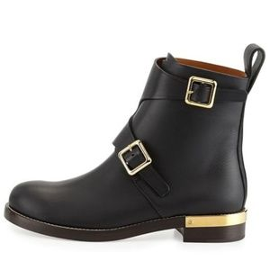 Chloe Black Leather Gold Double Buckle Boots